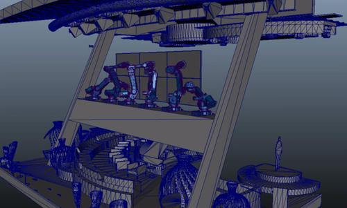 This illustration shows the RoboScreens on the gantry of the multilevel great room on new Royal Caribbean Quantum Class ships.