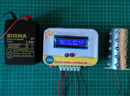This solar charge controller, which is placed between a solar panel and a battery, regulates the voltage and current coming from your solar panel.