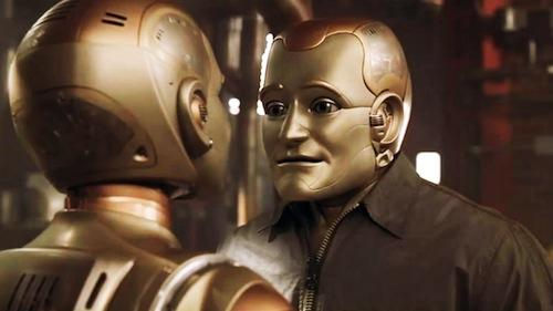 1999 Bicentennial Man. Based on Isaac Asimov's short story, 'The Positronic Man,' this futuristic robot film features Robin Williams as Andrew, a domestic-household android robot 'appliance' designed to serve humans with housework. But Andrew wants to become fully human, with the full range of human emotions and capabilities. Over his 200-year lifespan, he gets his wish.  (Source: seduction.net)