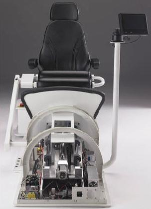 The functionality of the VibeTech One rehabilitation chair depends on a Tolomatic ERD15 electric actuator located beneath the footplate to control the amount of static loading on the patient's lower limbs.   (Source: VibeTech Inc.)