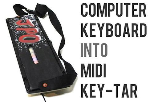 Adam Berger hacked a computer keyboard into a mini key-tar to play with his band.
