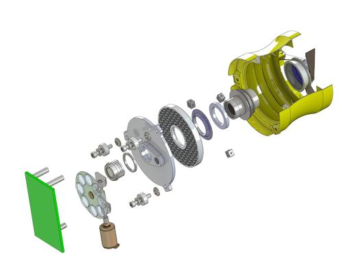 This is an exploded view of the CubeSat-class, 2-inch imaging instrument that technologist Jason Budinoff is manufacturing with 3D-printed parts for NASA. It shows the mirrors and integrated optical-mechanical structures. The 2-inch telescope design includes only four pieces 3D-printed from powdered titanium and aluminum, instead of five to 10 times that number of parts made conventionally.   (Source: NASA Goddard/Jason Budinoff)