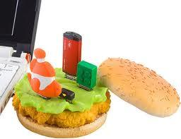 The Chicken Burger USB Hub has been discontinued, but we had to include it in our slideshow because, well, it's a chicken burger USB hub! You're gonna have to get this one on eBay.   (Source: usb.brando.com)