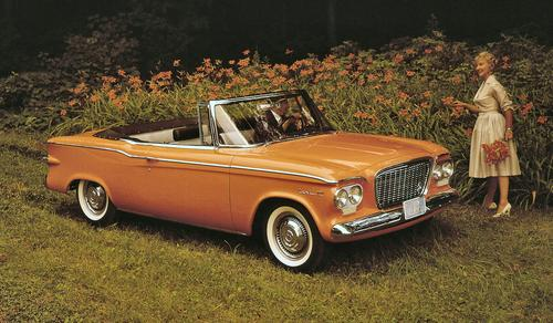 The final assembly line for Studebaker's 1961 Lark was located near Sample Street in South Bend, Ind. At the time, the Lark was considered a compact car. Engines were inline six-cylinders or V-8s. Available as sedans, coupes, or station wagons, Larks were produced between 1959 and 1966.   (Source: Studebaker National Museum Archives)