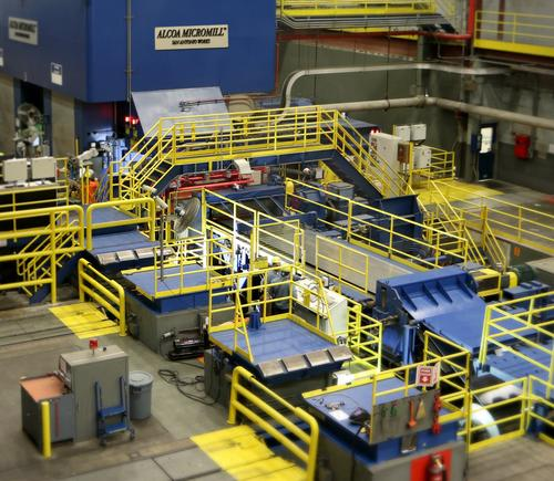 Shown here, an overview of the Micromill process, which turns molten metal into aluminum coil from 20 days for conventional rolling mill to 20 minutes. It takes up one-quarter of the space required by a typical rolling mill, and uses half the energy.  (Source: Alcoa)