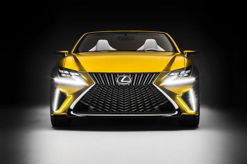 The defining characteristic of Lexus' LF-C2 concept car is the front fascia, which features a bi-texture grille with a braided L-shaped mesh beneath its vertical slats.   (Source: Lexus)