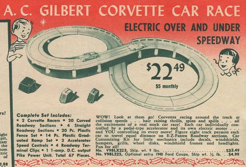 At the time, this slot car package was an incredibly expensive toy. Note the option to pay for it at $5 per month.   (Source: neatocoolville.blogspot.com)