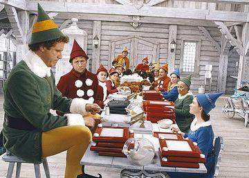 The movie Elf showed details of Santa's manual workshop. In this scene the elves are putting together Etch-a-Sketches.   (Source: rottentomatoes.com)