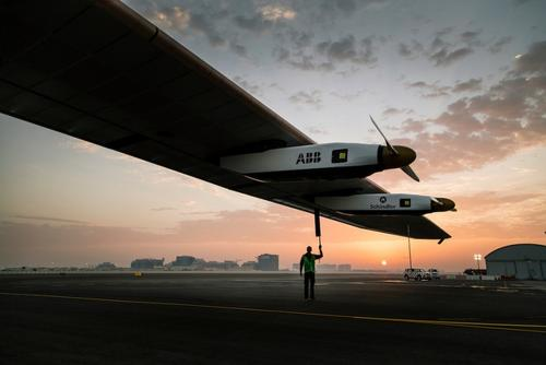 The 100% solar-powered single-seater airplane Solar Impulse 2 on its first outing in its host city, Abu Dhabi, United Arab Emirates. The ultralight aircraft is prepping for its manned flight, becoming the first plane to fly around the world without using fuel.