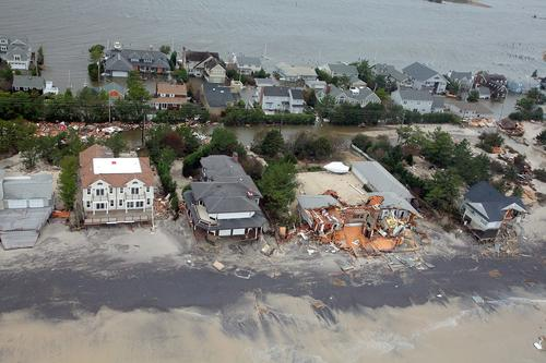 Aerial views of damage caused by Hurricane Sandy to the New Jersey coast, October 2012.