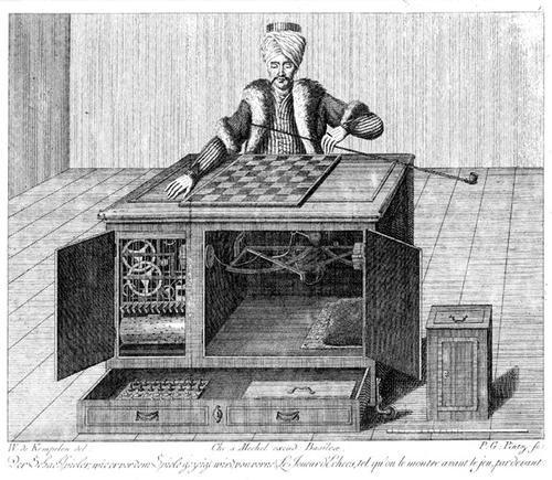 Created by Baron Wolfgang von Kempelen, the Great Chess Automation aka 'The Turk' was arguably the first example of machine intelligence...too bad it was fake. The machine, a wooden figure made to look like a man in Turkish clothes, traveled around Europe in the 18th Century beating all comers at chess matches. This went on for nearly 70 years before the true secret of The Turk was revealed: a human chess master hidden inside.  (Source: Hoaxes.org)