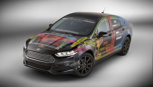 Ford's Fusion MMLV concept car used so many lightweight components that engineers were able to replace its 1.6L EcoBoost engine with a 1.0L unit.   (Source: Ford Motor Co.)
