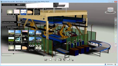Here's a screen shot of a fully visualized team of robots on a conveyor line. The visual insets drill down to individual components on the line.   (Source: Autodesk)