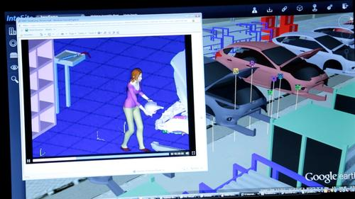 The Siemens visualization of a Ford plant allows views to see both the entire assembly line as well as individual workstations. Once at the workstation level, the viewer can click to see a video of the workstation tasks.   (Source: Siemens)