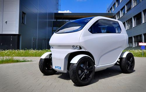 The EO Smart Connecting Car 2 measures about 2.5m long before tilting is cabin up and rolling the rear axle to the front.   (Source: DFKI GmbH Robotics Innovation Center)