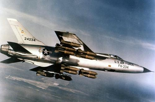 This supersonic jet fighter/bomber could carry more than 12,000 lb of ordnance, as well as a nuclear weapon. Its engine generated 24,500 lb of thrust, and the plane reached 1,390 mph at altitude. Weighing 53,000 lb fully loaded, the 'Thud' was formidable in diverse missions, including air combat; the F-105 is credited with 27 MiG kills in Vietnam. The aircraft's ability to absorb punishment was legendary; many planes returned safely to base despite considerable battle damage. The Thud was one of the first modern aircraft in the US fleet in terms of its ability to be upgraded for different missions, among which was electronic warfare, during its service from 1958 to 1984.