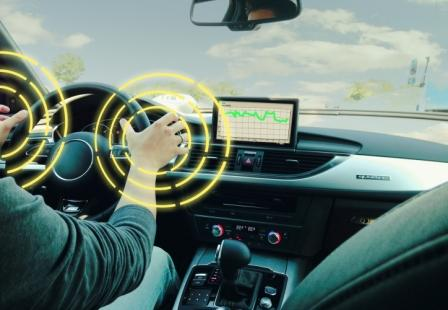 A resistive sensor embedded throughout the steering wheel allows it to detect a driver holding onto it.   (Source: Hoffmann-Krippner)