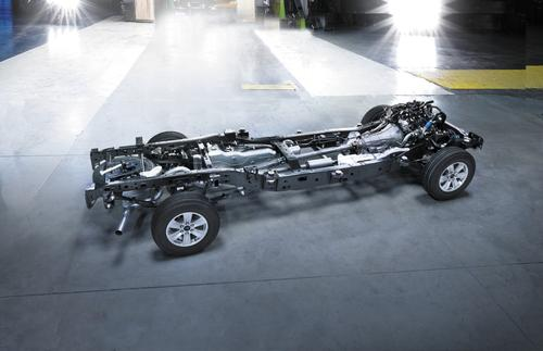 Ford uses a high-strength, dual-phase steel for about 78% of the F-150's frame, up from about 23% on earlier models. The high-strength steel, offering a yield strength of about 70 ksi, is mostly responsible for the 55-pound weight loss. (Source: Ford Motor Co.)