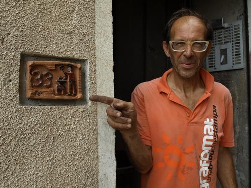 Pasquale Russo has been designing and fabricating distinctive metalwork for over 30 years. People know they've found his shop when they see the address plate he made. (Source: Pat Toensmeier)