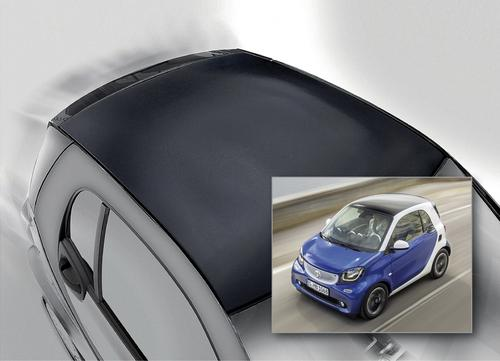 Using BASF's Elastoflex E polyurethane foam system, it's now possible to mass-produce a honeycomb sandwich structure for an exterior car part, in this case a roof. The lightweight roof was developed by Fehrer Composite Components of Germany. The roof module in the standard model of the new Smart Fortwo car consists of a paper honeycomb surrounded by two glass fiber mats. These are impregnated with the low-density, thermally activable Elastoflex E 3532 and pressed together with a solid-colored class-A film, produced in a single manufacturing step. Honeycomb techniques have previously been used in car interiors, such as loading floors, roof linings, and rear shelves. BASF adjusted the viscosity and reactivity of Elastoflex E for exterior applications to ensure optimal processing and adhesion, as well as long spray times for larger parts.    (Source: BASF)