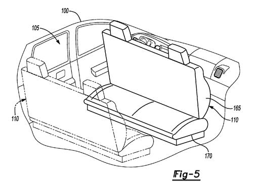 Ford Global Technologies LLC, which handles IP for the carmaker, was awarded a patent for a vehicle interior concept that calls for front seats to turn and face rearward while a vehicle drives itself. The concept applies to bucket seats, captain's seats, and bench seats. (Source: US Patent Office)