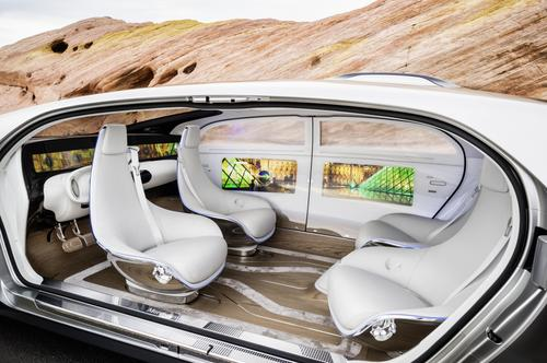 At the Consumer Electronics Show in January, Mercedes-Benz showed off its F 015 concept car. With a production version targeted for about 2030, the F 015 employs rotating chairs -- to allow passengers to sit in face-to-face configurations -- and 'saloon doors' for easy ingress and egress. (Source: Mercedes-Benz)