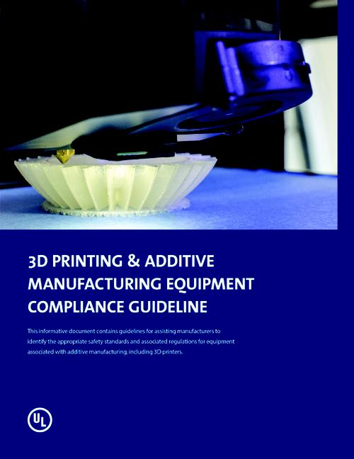 Under its equipment & materials initiative, UL has published an equipment safety guideline outlining applicable standards for 3DP depending on use and materials.