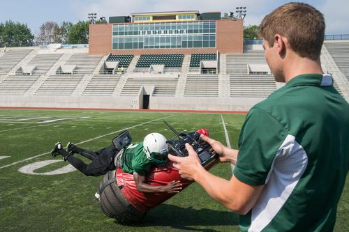 Developed at the Thayer School of Engineering at Dartmouth, the radio-controlled Mobile Virtual Player can simulate human players in a variety of drills, including running, passing, blocking and tackling. (Source: Dartmouth College)