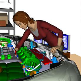 Jack is desktop-based, 3D human modeling and simulation software. You can populate your designs with virtual people and perform human factors and ergonomic analysis.   (Source: Siemens PLM)