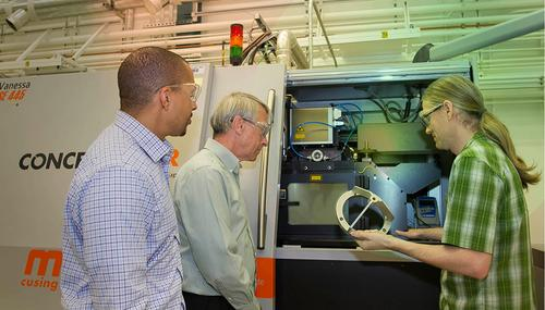 Researchers at Lawrence Livermore National Laboratory have published two physics-based models for the selective laser melting (SLM) metals additive manufacturing process, to help engineers understand how it works at multiple scales, and develop better parts. From left is Ibo Matthews, a principal investigator leading the Lab's effort on the joint open source software project; Wayne King, the paper's lead author and director of the Accelerated Certification of Additively Manufactured Metals Initiative; and Gabe Guss, engineering associate.   (Source: Lawrence Livermore National Laboratory)