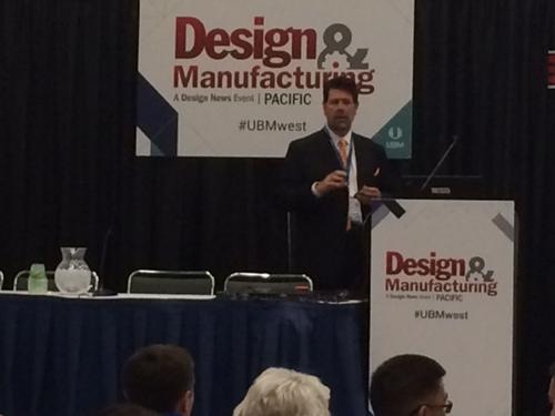 Marc Ostertag, North America president of B&R Automation, speaks to audience members about the oncoming Industrial Internet at Pacific Design & Manufacturing.   (Source: William Ng/Design News)