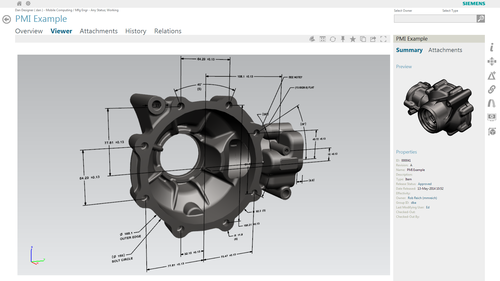 Within the PLM environment, the user can view and investigate the 3D CAD model and product and manufacturing information prior to selecting the part or assembly for reuse. (Source: Siemens PLM)