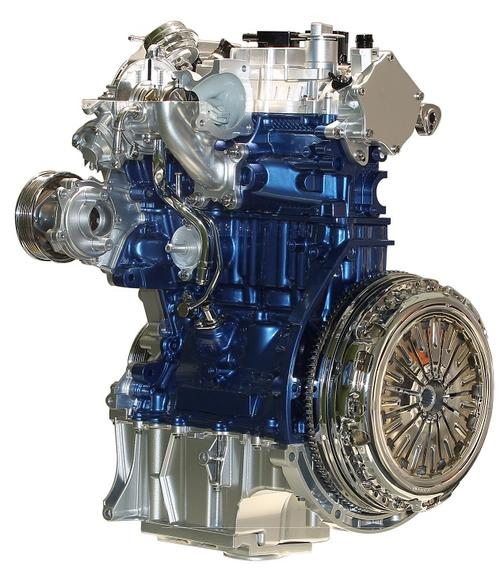 Ford's 1.0-liter, turbocharged, three-cylinder EcoBoost engine has a block small enough to fit in the overhead luggage compartment of an airplane, but has nevertheless won the International Engine of the Year award three times. It has also received a 'Ward's 10 Best Engines' trophy -- a first for a three-cylinder engine. Key technologies include a low-inertia turbocharger that spins at up to 248,000 rpm. The tiny engine also includes a cylinder head with an integrated and cooled exhaust manifold that lowers exhaust temperatures and optimizes the fuel-to-air ratio. The engine, which powers the Ford Fiesta and Focus, is the product of five million development hours logged by more than 200 Ford engineers.   (Source: Ford Motor Co.)