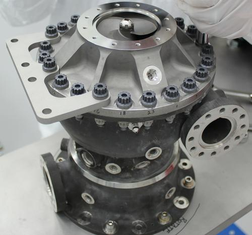 This rocket engine fuel pump has hundreds of parts, including a turbine that spun at over 90,000 rpm during testing last year with cryogenic liquid hydrogen propellant. This turbopump was made with additive manufacturing and had 45% fewer parts than pumps made with traditional manufacturing. It completed testing under flight-like conditions at NASA's Marshall Space Flight Center. (Source: NASA/MSFC)