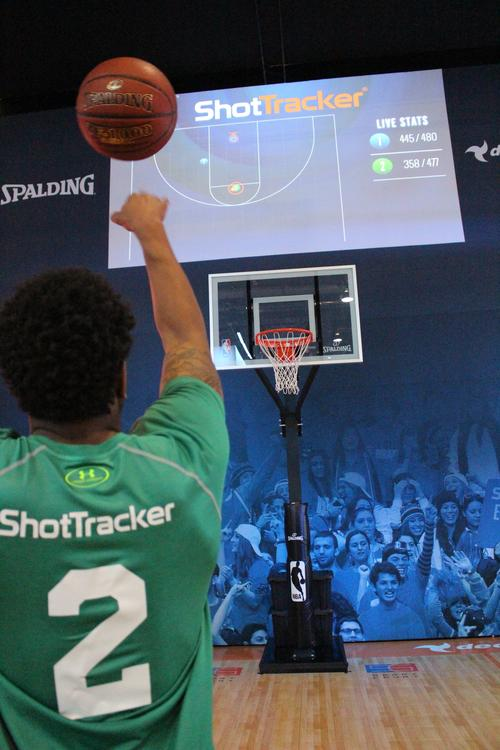 At the recent Consumer Electronics Show in Las Vegas, ShotTracker showed how its wireless basketball technology can be used to gather stats on shooting, dribbling, rebounding, turnovers, and player positioning. The company's product, called ShotTracker Team, uses wireless tags on gym walls, ceilings, and in the rafters, as well as on players' shoes and in the basketball itself.   (Source: ShotTracker)
