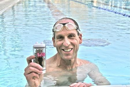 Doug Conner trains with his triathlete group in an outdoor pool. His start time is 6:00 a.m., and during half of the year, it's still dark out then, so he can't see the analog clock. To fix this, Doug created a waterproof timer he can place at the edge of the pool.Click here.   (Source: Design News)