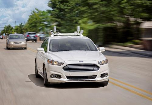 An autonomous Ford Fusion takes to the streets in Dearborn, Mich. 
