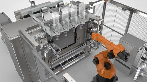 The fully automated Stratasys Infinite Build 3D Demonstrator is capable of much longer operation than typical FDM machines. A screw extruder deposits thermoplastic micropellets 1/2 mm in diameter via vertical hoppers, which can be used for multimaterial printing in the same build layer. This view shows the vertical, clear, multiple hoppers that allow continuous extrusion, increasing throughput and repeatability. 