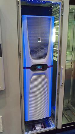 Rittal Corp. showed off its energy-efficient Blue e+ industrial cooling unit at IMTS in Chicago last week. 