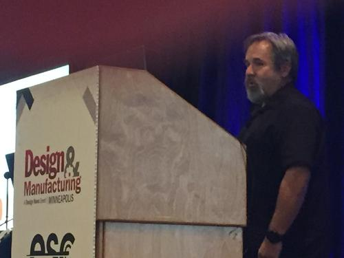 Chuck Carter of Eagre Games giving the keynote talk at the Design and Manufacturing show in Minneapolis.