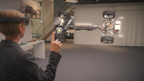 The HoloLens holographic head unit can serve as a prototyping tool for designers, enabling them to examine their work in three-dimensional space. (Source: Microsoft Corp.)