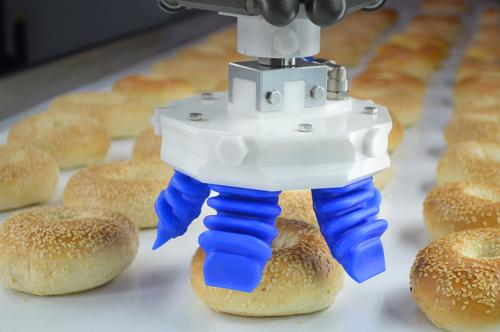 Soft robotic gripper technology from Soft Robotics is used to sort bagels for packaging. The technology out of Harvard University provides robotic automation for previously manual processes because of its ability to delicately handle a variety of items. 