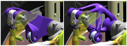 This generative design show how software can help changed the design in order to reduce weight while retaining strength.  (Source: Siemens PLM)