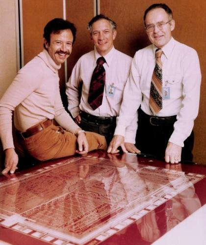 Dave House's former bosses (from left) Andy Grove, Robert Noyce and Gordon Moore back in the pre-PC days of chip design.