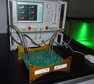 An Anritsu vector network analyzer (VNA) connects to a test boardfrom Wild River Technology.