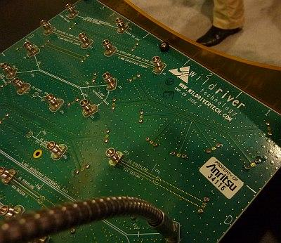 A closeup of the CMP-28 channel modeling board from Wild River Technology shows the test structures that can be used for VNA calibration before measurements on an unknown structure.