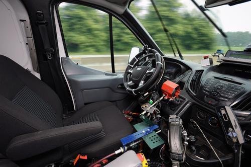 You'll find no test drivers inside Ford's testing vehicles. Its robotic technology is at work, operating the auto company's new accelerated, high-impact, on-road and off-road durability testing.