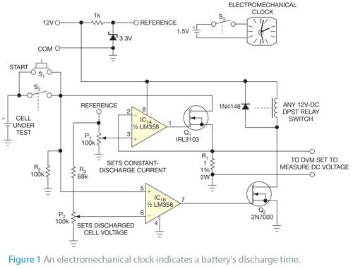 Figure 3: This circuit by Vladimir Oleynik uses an electromechanical clock to measure a battery's charge time. Published June 9, 2011.