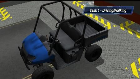 In DARPA's Virtual Robotics Challenge, contestants wrote software that controlled a virtual robot whose first task was to enter and drive this utility vehicle down debris-strewn roads.  (Source: DARPA)