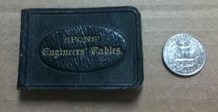 Antique book of engineering tables.